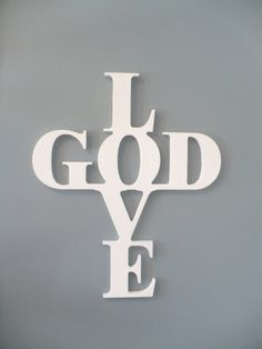 Wooden Cross Wall Decor - Love God Cross - Wooden Wall Sign via Etsy