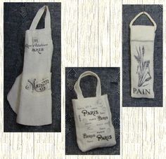 how to: french typography apron, shopping bag, and baguette bag (transfers)