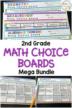 These math menus provide students with an engaging activities related to geometry, measurement, algebraic thinking and numbers and base ten operations.  These math choice boards will give students options on completing the listed activities or coming up with their own project with teacher approval.  Great for use for early finishers, gifted students, reluctant students or even for homework.  #mathchoiceboards #math #teachingmath