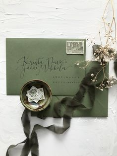 Leaf green envelopes for boho summer wedding invitations with black address calligraphy lettering Calligraphy Envelope, Modern Calligraphy, Envelopes, Summer Wedding, Wedding Invitations, Lettering, Boho, Green, Black