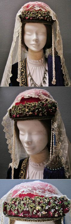 Traditional festive headgear from the Olti/Oltu region (North of Erzurum province). Well-to-do Armenian, c. 1900. The felt hat is adorned with needle work, small Ottoman copper coins, 2 x four lines of: wild pearls + one silver coin, and a gilt silver clasp holding a purple silk tassel; the tassel is attached to the hat by a string of blue glass pearls. A large silk scarf with embroidered edges completes the headgear. (Inv.nrs. ba$023 & yaz069 - Kavak Costume Collection - Antwerpen/Belgium).