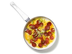 Pepperoni and Cheese Scrambled Eggs Recipe Recipe courtesy Robert Irvine for Food Network Magazine