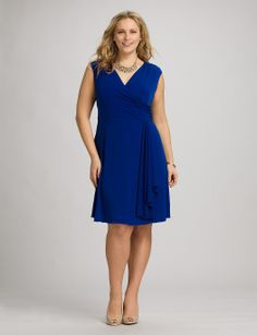 Plus Size | Dresses | Cocktail Dresses | Plus Size Ruffled Cascade Dress | dressbarn