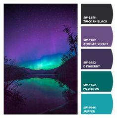 Canadian Northern Light – Chip It! Color Schemes Colour Palettes, Colour Pallette, Color Palate, Color Combinations, Purple Color Schemes, Purple Palette, Couleur Html, Room Colors, Paint Colors