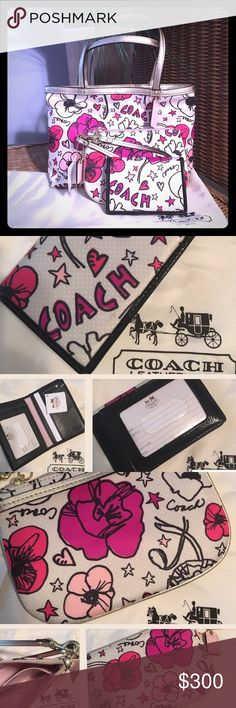 NWT Auth Coach Poppy Kyra 3-Pc Set👜 Rare & HTF...All Brand NEW w/Dustbag. Hand Tote cream w/pink flowers & gold leather trim👜 Small wristlet👜 Id/card holder👜 Please feel free to ask questions...👛👜 Coach Bags Totes
