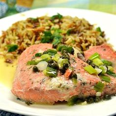 """Pan-Poached Alaskan Salmon Piccata I """"This is amazing! i added some artichoke hearts to it and knocked my own socks off!"""""""