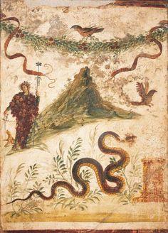 112286 - BACCO E IL VESUVIO - AFFRESCO mosaici-museo-napoli