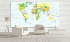 Large World Map for Office Canvas Prints Panel by CanvasFactoryCo Large World Map Canvas, Office Canvas, Canvas Prints, Handmade Gifts, Room, Furniture, Etsy, Home Decor, Kid Craft Gifts