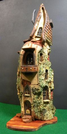 Winter House 3092 by ForestDwellerHouses on DeviantArt Clay Fairy House, Gnome House, Mini Fairy Garden, Fairy Garden Houses, Fairy Gardens, Wood Bark, House Lamp, Clay Fairies, Fairy Furniture