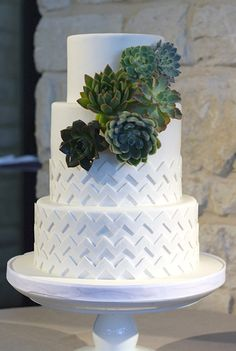 White chevron cake with succulents by Coco Paloma Desserts, via Flickr