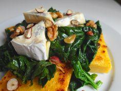 Aneta Goes Yummi: Grilovaná polenta so špenátom, syrom s modrou plesňou a orechami