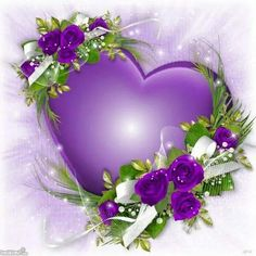 Purple Heart and Flowers The Purple, All Things Purple, Purple Rain, Shades Of Purple, Purple Stuff, Heart Wallpaper, Flower Wallpaper, Hearts And Roses, Purple Hearts