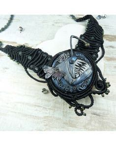 macrame necklace with polymer clay handmade element (angler fish) boho, bohemian necklace, angler fish, macrame necklace, polymer clay necklace, fimo.
