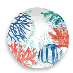 Sea Life 12 Piece Melamine Dinnerware Set with Lobster Salad Plate by TarHong Melamine Dinner Set, Melamine Dinnerware Sets, Tableware, Pottery Painting, Ceramic Painting, Dinner Plate Sets, Dinner Plates, Coral Painting, Coral Art
