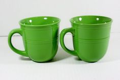 Set of 2 Double Rimmed Mainstays Green Stalk Coffee Tea or Latte Ceramic Mugs  #Mainstays