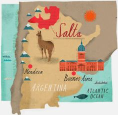 Map illustration showing wine country in Argentina  - Martin Haake