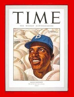 Time, September 22, 1947. Illustration of Jackie Robinson by Ernest Hamlin Baker. See more vintage baseball magazine covers here: http://www.robertnewman.com/10-great-baseball-magazine-covers/