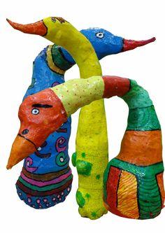 Vogels, gemaakt naar het voorbeeld van de kunstenares barbara kobylinska