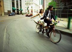 tandem bicycle -- wedding getaway bike!
