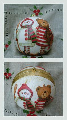 Sfera natalizia con pupazzo  di  neve  e orso 🌟decoupage  effetto bassorilievo