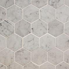 "Marble Mosaic - Elegance Collection - Italian Carrara White Hexagon / 3""x3"" / Honed"