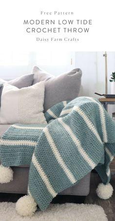 Free pattern modern low tide crochet throw crochet free pattern crochet modern moss stitch blanket by daisy farm crafts Crochet Afghans, Crochet Baby, Free Crochet, Blanket Crochet, Chunky Crochet Blanket Pattern Free, Crochet Throws, Easy Crochet Blanket, Crochet Stitch, Crotchet