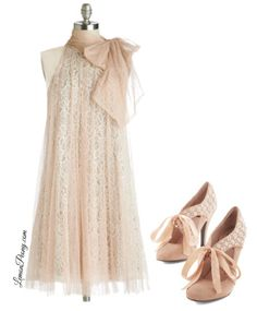 Vintage Lace Dress and Shoes for Valentine's Day Fashion or Women's Easter Dresses!