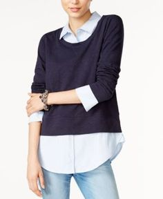 Tommy Hilfiger Layered-Look Sweater, Only at Macy's - Blue M