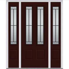 Milliken Millwork 64.5 in. x 81.75 in. Madison Decorative Glass 2 Lite Painted Fiberglass Smooth Exterior Door with Sidelites, Cordovan