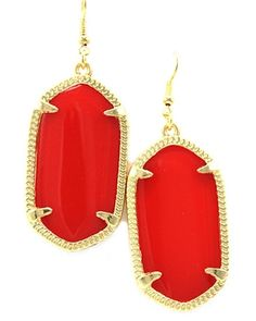 Meghan Oval Earrings in Red - $18, free shipping/Red oval statement earrings with gold details