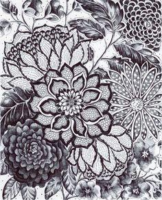 Original tinta dibujo Encaje negro Decor blanco negro