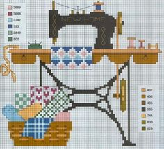 cross stitch - vintage sewing machine and quilting Counted Cross Stitch Patterns, Cross Stitch Charts, Cross Stitch Designs, Cross Stitch Embroidery, Hand Embroidery, Machine Embroidery Projects, Embroidery Patterns, Cross Stitching, Needlework
