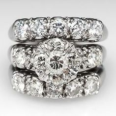 WIDE BAND THREE RING DIAMOND WEDDING SET