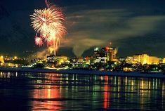 Fur Rondy Fireworks    Alaska. Anchorage