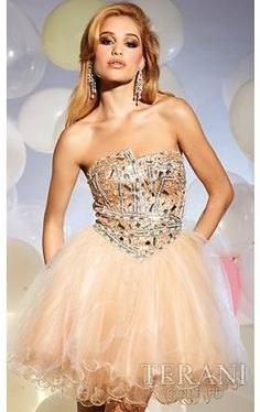 Gold Short Strapless Babydoll Dress TI-T813