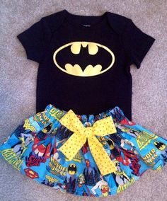 Super Hero Batman batgirl Wonder women outfit baby girl skirt Dress up Set with hair matching Bow headband Size 12 18 months on Etsy, £18.39