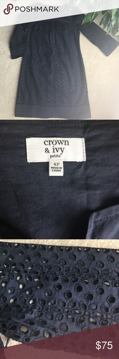 Crown and Ivy dress Perfect condition! Never worn! Fully lined! Sleeves are not lined but they have a beautiful large eyelet pattern! Purchased for an event but ended up going with a different dress! NOTE: this is a PETITE sized dress which means inseams are shorter and sleeves may also be shorter than a normal 4. crown and ivy Dresses Mini