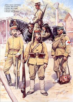 the russian illustrator Andrei Karachtchouk showing japanese army officers and soldiers using summer uniforms during the final months of the russo japanese war in 1905, most of this soldiers served in the old shogunate armies of the boshin war and were veterans of the first sino japanese war