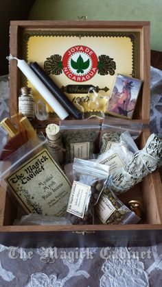 Beautiful Wiccan Altar Box. Great little kit for the beginner or advanced witch. Traveling altar kit. New on Bonanza!