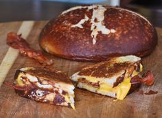 Pretzel Bacon Cheddar Grilled CheeseHas a link to make your own pretzel bread. Betsy says she can't stop eating it