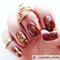 "Lindsay Yoshitomi on Instagram: ""Well Done Gryffindor! I love these... ❤ liked on Polyvore featuring beauty products, nail care, nail polish, nails, harry potter, gryffindor and 37. nail polish."