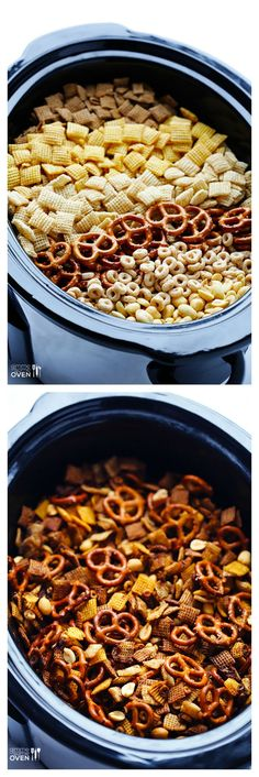 Slow Cooker Chex Mix -- the classic mix you love, made in your crock pot!