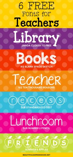 In this font roundup, I'm sharing 6 free fonts for teachers. Free fonts. via @tiffany_griffin