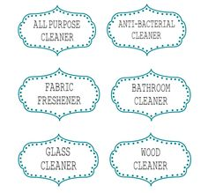 ~~~ 6 Printable Labels for DIY Cleaning Supplies! ~~~ *All Purpose Cleaner *Anti- Bacterial Cleaner, *Fabric Freshner, *Bathroom Cleaner, *Glass Cleaner, and *Wood Cleaner.