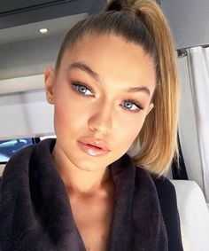 The Wall Group: #Beautylook to try this week: A sleek high ponytail + a nude lip #Makeup by @patrickta. #Hair by @jennifer_yepez. @gigihadid #BTS