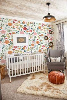 Tapeten - Vintage Blumen, abnehmbareTapete, weiße Tapete - ein Designerstück von coloray bei DaWanda