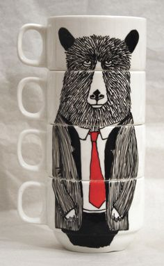 Hand painted set of 4 Coffee cups - Mr Bear. $69.00, via Etsy.