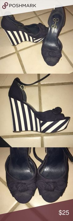 Jessica Simpson Sailor Wedges Adorable navy/white striped wedges perfect for spring!! NEVER WORN Jessica Simpson Shoes Wedges