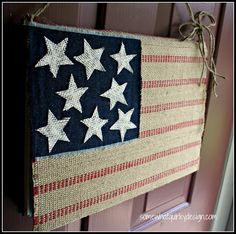 DIY:  Upholstery Webbing & Burlap Flag Tutorial - very cute project made from an old book cover - Somewhat Quirky Design