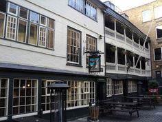 The George Inn Yard, 77 Borough High Street SE1 1NH The George Inn Yard is the last remaining galleried coaching inn in London and is owned by The National Trust. It was destroyed in the Great Fire, and was rebuilt in 1667 and frequented by Charles Dickens who mentioned it in Little Dorrit and who seemed to be a regular at many old London pubs.